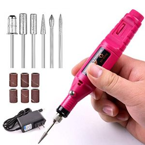 Electric Nail File Machine,Kathy Professional Nail Art Drill Kit for Acrylic Nails Manicure Pedicure Tool,Rose Red