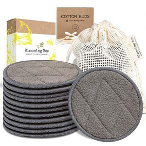 12 Charcoal Bamboo Reusable Makeup Remover Pads With Laundry Bag (+ Biodegradable Cotton Bamboo Earbuds-100 pcs)-Planet Friendly Reusable Cotton Pads-Organic Bamboo Cotton Face Rounds