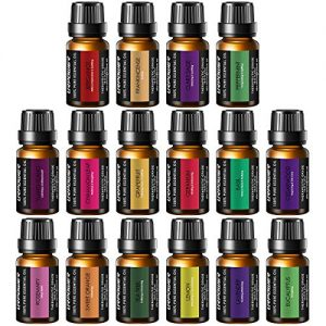 URPOWER Essential Oils, 16x10ml 100% Pure Aromatherapy Essential Oil Gift Set with Lavender, Sweet Orange, Peppermint, Lemon, Rosemary, Grapefruit, etc for Essential Oil Diffuser, Massage, Spa