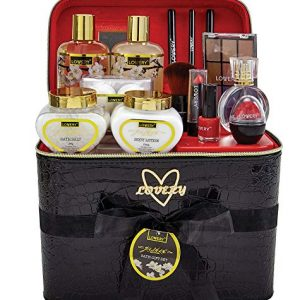 Mother's Day Gifts - Premium Bath and Body Gift Basket For Women – 30 Piece Set, Jasmine Home Spa & Makeup Set, Includes Cosmetic Pencils, Lip Balm, Lotions, Perfume, Black Leather Cosmetic Bag & More