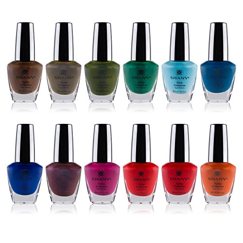 SHANY Cosmetics Nail Polish Set - 12 Bold and Quirky Shades in Gorgeous Semi Glossy and Shimmery Finishes - Funky Collection