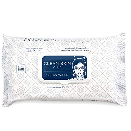 Clean Skin Club - XL Bacteria Free Clean Wipes | Extra Moist Makeup Removing Towelettes | 30 Count | Facial Cleansing Cloth | Cruelty Free & Vegan | Fragrance Free | NO Alcohol or Chemicals | GMO & Paraben Free
