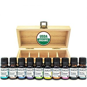 PURA D'OR Perfect 10 Essential Oil Wood Box Set 10mL USDA Organic 100% Pure Therapeutic Grade (Tea Tree-Lemon-Lavender-Sweet Orange-Rosemary-Lemongrass-Frankincense-Peppermint-Eucalyptus-Cedarwood)