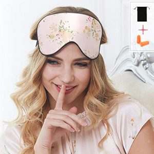 100% Silk Sleep Mask & Blindfold, Soft Eye Mask with Adjustable Head Strap,Eye Masks for Sleeping Night Eyeshade, Comfortable Eye Cover for Travel, Shift Work & Meditation with Earplug (Floral)