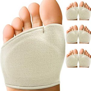 Metatarsal Pads for Women or Men's Feet - Comfortable Ball of Foot Pads for Mortons Neuroma or Metatarsalgia Pain Relief. Breathable Fabric Forefoot Sleeves Cushion & Support Sesamoiditis (3 Pairs)
