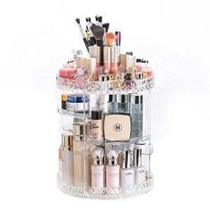 DreamGenius Makeup Organizer 360-Degree Rotating Adjustable Multi-Function Acrylic Cosmetic Storage, Transparent