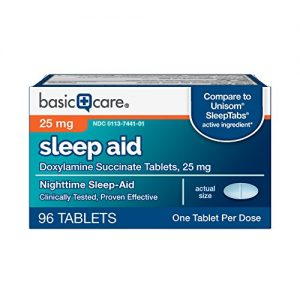 Basic Care Sleep Aid Tablets, Doxylamine Succinate Tablets, 25 mg, Nighttime Sleep Aid to Help You Fall Asleep, 96 Count