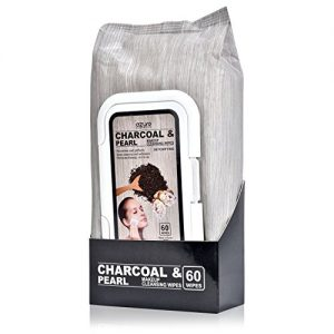 AZURE Charcoal & Pearl Detoxifying Facial Wipes – Nourishing, Cleansing & Exfoliating | Removes Makeup, Dirt and Oils | Reduces Appearance of Wrinkles | Made in Korea - 60 Count