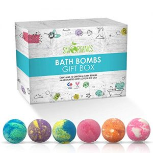 Sky Organics Large Bath Bombs Gift Set Assorted Scents Bath Bomb Kit Best for Moisturizing Relaxation Aromatherapy with Natural Essential Oils Sulfate Free Vegan Gluten Free Made in USA(12ct x 3.2 oz)