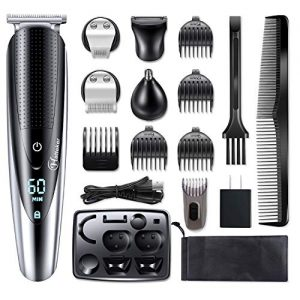Hattteker Mens Hair Clipper Beard Trimmer Grooming kit Hair trimmer Mustache trimmer Body groomer Trimmer for Nose Ear Facial Hair Cordless Waterproof 5 In 1