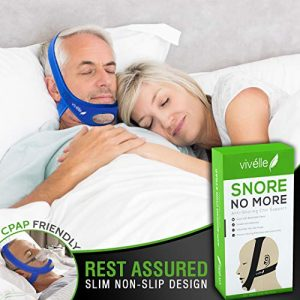 CPAP Bi-PAP VPAP BPAP TMJ Chin Strap Anti Snoring Chin Strap for Men and for Women - Snore No More by Vivélle, Slim Non-Slip, Adjustable, Premium Snore Stopper Device That Helps You Day and Night