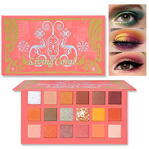 UCANBE Coral Eyeshadow Palette, High Pigment 18 Color Matte Shimmer Glitter Eye Shadow Pallet Waterproof Long Lasting Professional Eyeshadow Powder Makeup Palette