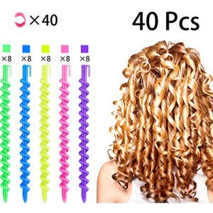 40 Pcs Spiral Hair Perm Rod Spiral Rod Plastic Long Barber Hairdressing Styling Curling Perm Rod Hair Rollers Salon Tools for Women Girls