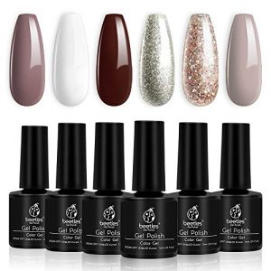 Beetles Holiday Gel Nail Polish Set - 6 Colors Burgundy Red Champagne Gold Gel Polish Kit Snow White Nude Grey Nail Gel Polish Soak Off UV LED Gel Nail Kit Vanish Manicure Home Gift Box