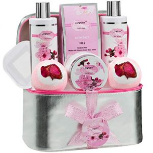 Bath and Body Spa Gift Basket Set For Women – Mother's Day Gift - Cherry Blossom Home Spa Set with Fragrant Lotions, 2 Extra Large Bath Bombs, Mirror and Silver Reusable Travel Cosmetics Bag and More
