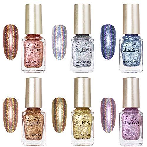 Freeorr 6 Colors Holographic Chameleon Nail Polish Set, Iridescent Gorgeous Glossy Glitter Diamond Laser Chrome Nail Pigment-6ml(A)