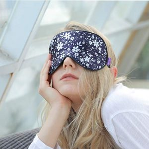 O'Bester Natural Silk Sleep Mask, Comfortable and Super Soft Eye Mask with Adjustable Strap, Ultimate Sleeping Aid, Blindfold, Blocks Light (Small White Flowers)