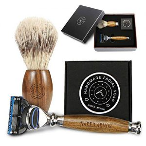 LUXURY RAZORS FOR MEN ~ SHAVING SET FOR MEN GIFT, Brazilian Sandalwood Shaving Sets, Replaceable 5 Blade Wood Razor, Organic Shaving Soap Sandalwood Shave Brush, Men Shaving Kit & Groom Gift