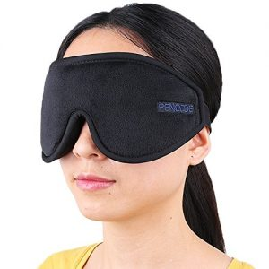 PeNeede 100% Blackout 3D Sleeping Eye Mask Contoured, Soft Memory Foam Molded Night Sleep Mask Eye Cover for Women/Men, Adjustable Comfort Blindfold Eye Shades for Nap/Migraine/Camping/Travel (Black)