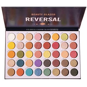 High Pigmented Diamond Reversal Planet Eyeshadow Makeup Palette, 40 Multicolor Metallic Matte Shimmer Glitter Ultra Neutral Blendable Creamy Eye Shadow Pallet Set Kit