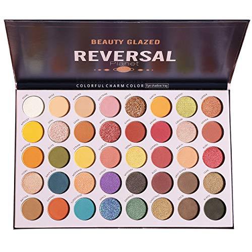 High Pigmented Diamond Reversal Planet Eyeshadow Makeup Palette, 40 Multicolor Metallic Matte Shimmer Glitter Ultra Neutral Blendable Creamy Eye Shadow Pallet Set Kit