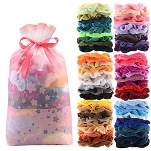 60 Pcs Premium Velvet Hair Scrunchies Hair Bands for Women or Girls Hair Accessories with Gift Bag,Great Gift for Holiday Seasons