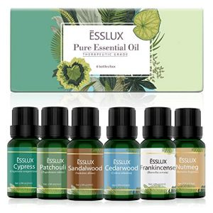 Essential Oils Set, ESSLUX Woody Collection with Cypress, Cedarwood, Patchouli, Sandalwood, Frankincense, Nutmeg Essential Oils, Perfect for Diffuser, Home Fragrance & Massage, 6x10 ML