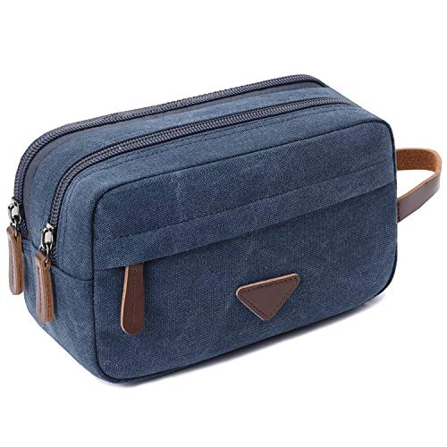 Mens Travel Toiletry Bag Canvas Leather Cosmetic Makeup Organizer Shaving Dopp Kits with Double Compartments (Blue 1)
