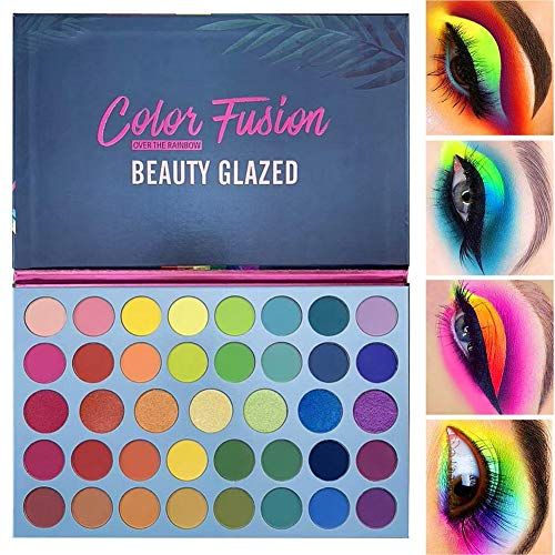 Beauty Glazed 39 Pop Colors Matte Shimmer Eyeshadow Palette Highlight Pigmented Colorful Long Lasting Waterproof Makeup Pallet Cosmetics Metallic Colors Natural Blending Makeup Eyeshadow Powder