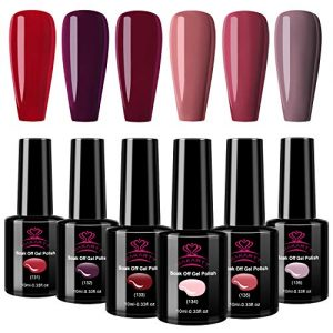 Makartt Gel Nail Polish Set Soak Off UV LED Nail Gel Polish Red Nail Polish Pink Gel Polish Starter Kit Popular Nail Art 6 Colors 10ml P-13