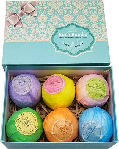Bath Bombs Ultra Gift Set By NATURAL SPA - 6 XXL All Natural Fizzies With Dead Sea Salt Cocoa And Shea Essential Oils - Best Gift Idea For Birthday, Mom, Girl, Him, Kids - Add To Bath Basket