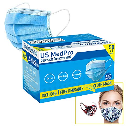 51 Pack (Includes Free Reusable Mask) Disposable Face Mask Surgical Dental Office Industrial 3-Ply Layer Filter System with Earloops Outdoor Facial Protection Fast USA