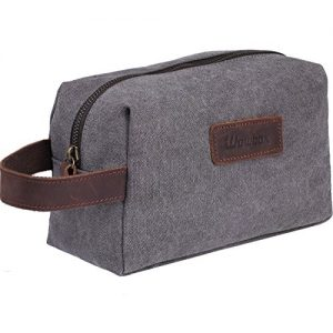 Wowbox Toiletry Bag for Men Canvas Travel Organizer Shaving Dopp Kit Cosmetic Makeup Bag Grey