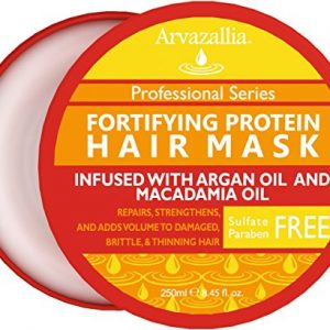Fortifying Protein Hair Mask and Deep Conditioner with Argan Oil and Macadamia Oil By Arvazallia - Hair Repair Treatment for Damaged , Brittle , or Thinning Hair - Promotes Natural Hair Growth