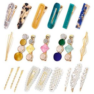 Allucho 22 Pack Pearl Hair Clips Fashion Hair Barrettes Sweet Artificial Macaron Acrylic Resin Hairpins for Women,Ladies and Girls Headwear Styling Tools Hair Accessories