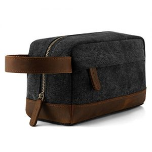 Plambag Canvas Leather Toiletry Bag for Men, Travel Dopp Kit Shaving Bag Organizer(Dark Gray)
