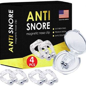 4X Anti Snoring Solution, Magnetic Anti Snore Clip, Professional Anti Snoring Devices, Silent Snore Reducing Aid for Men and Girl, Snore Away Nose Vents, Snore Stopper Nose Clip
