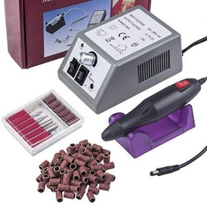 Electric Nail Drill 20,000 RPM Professional Electric Nail Art Salon Drill Glazing Fast Machine,Electric Nail Art File Drill with 1 Pack of Sanding Bands (Grey)