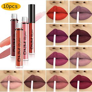 10pcs/Set Makeup Matte Lipstick Lip Kit, Velvety Liquid Lipstick Waterproof Long Lasting Durable Nude Lip Gloss Beauty Cosmetics Set