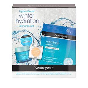 Neutrogena Hydro Boost Winter Gift Set with Hyaluronic Acid Gel Cream, Sheet Face Mask, Overnight Gel Mask, and Lip Treatment, Moisturizing Holiday Gift Set Women, 4 Items