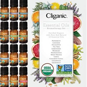Cliganic USDA Organic Aromatherapy TOP 12 Essential Oils Set, 100% Pure - Peppermint, Lavender, Eucalyptus, Tea Tree, Lemongrass, Rosemary, Frankincense, Orange, Lemon, Cassia, Cedarwood & Grapefruit