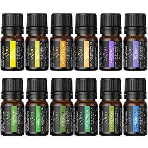 Anjou Essential Oils Set, Upgraded Pure Aromatherapy Essential Oil Kit, 12 x 5 ml (Lavender, Sweet Orange, Peppermint, Tea Tree, Eucalyptus, Lemongrass, Bergamot, Frankincense)