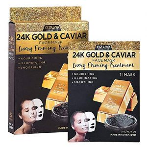 AZURE 24K Gold & Caviar Luxury Firming Sheet Face Mask - Smoothing, Hydrating & Firming | Reduce Fines Lines & Wrinkles | Improves Elasticity & Skin Damage | Made in Korea - 5 Pack