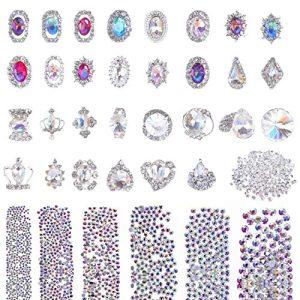 Selizo 3168pcs Rhinestones Nail Crystals Rhinestones with 30pcs Nail Metal Gems Jewels Stones for 3D Nails Art Decoration Nail Art Supplies