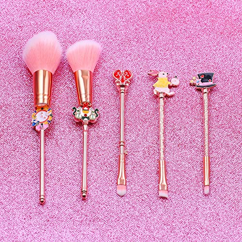 Cute Fairy Makeup Brush Set - 5pcs Wand Makeup Brushes with Premium Synthetic Fiber and Cartoon Handle for Blush, Foundation, Eyebrow, Eyeshadow, and Lips, Prefect Gift for Sister
