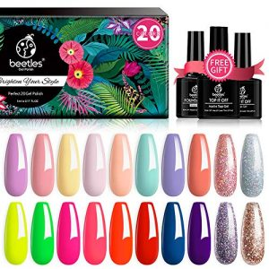Beetles 20 Pcs Gel Nail Polish Kit, Spring into Summer Collection Soak Off UV LED Nail Gel Polish Pastel Nail Polish Neon Gel Polish Starter Kit with Glossy & Matte Top Coat and Base Coat