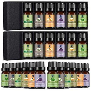 Lagunamoon Essential Oil Top 6 Gift Set (2 Pack), Aromatherapy Oils for Diffuser, Skin Care, Natural Essential Oils Include Lavender, Peppermint, Orange, Lemongrass, Frankincense, Rosemary (12 x 10mL)