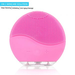 Facial Cleaning Brush,Minso Waterproof & Silicon Facial Cleaner, Electric Masager Cleansing System for Deep Cleansing Skin Care, Face Massage Brush and USB Charging Cables (Pink)
