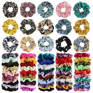 65Pcs Hair Scrunchies Velvet,Chiffon and Satin Elastic Hair Bands Scrunchie Bobbles Soft Hair Ties Ropes Ponytail Holder Hair Accessories,Great Gift for halloween Thanksgiving day and Christmas