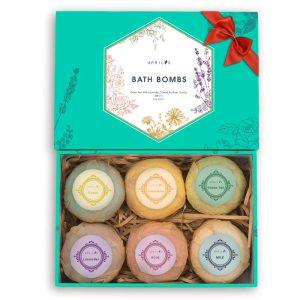 Aprilis Bath Bombs Gift Set, Organic & Natural Essential Oil Bath Bombs for Dry Skin Moisturizing, Handmade Fizzy Spa Bath Set, Perfect Birthday Mother's day Gift, Large 4 oz x 6